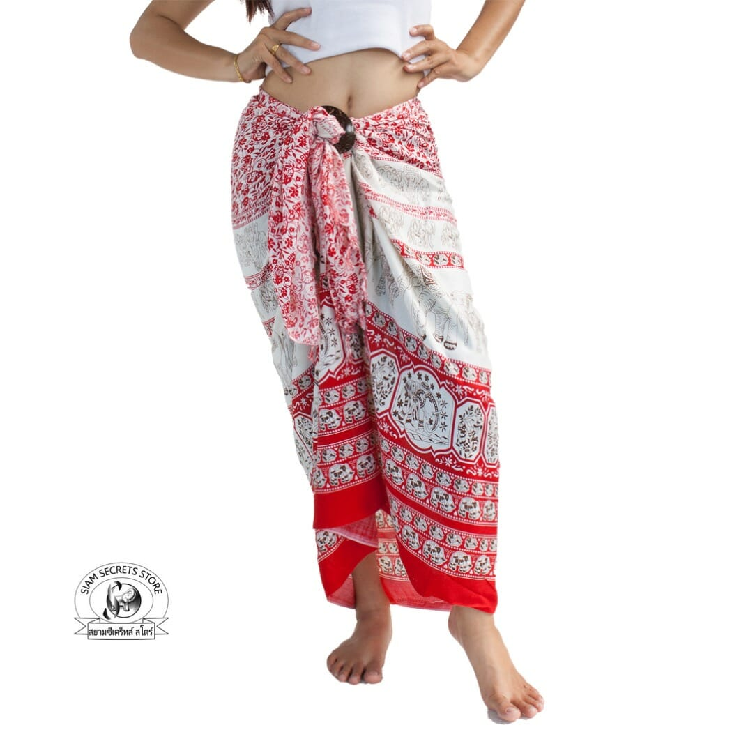 003ccc0fdb Red Beach Cover-up Thai Sarong Design Featuring Elephant Print