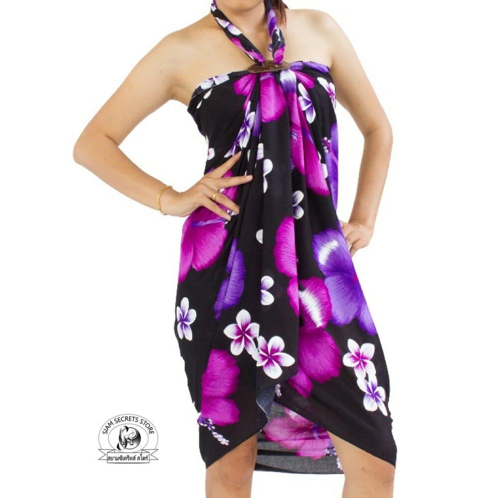 Black floral sarong pink purple hibiscus flower siam secrets black floral sarong with pink purple hibiscus flowers izmirmasajfo