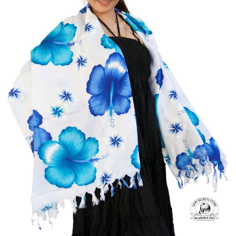 White Floral Sarong Blue Hibiscus Flower Siam Secrets Apparel