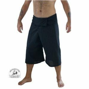 Black Thai Fisherman Pants Mens Capri Front