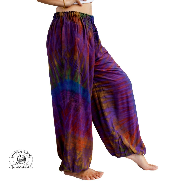 Purple Tie Dye Pants-Trippy Yoga Beach Trousers ⋆ Siam
