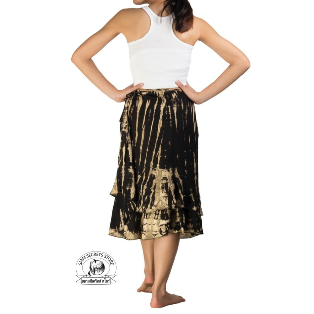 3fb11a95a7 Black Tie-dye Wrap Skirt - Layered Hippy Design⋆ Siam Secrets Apparel