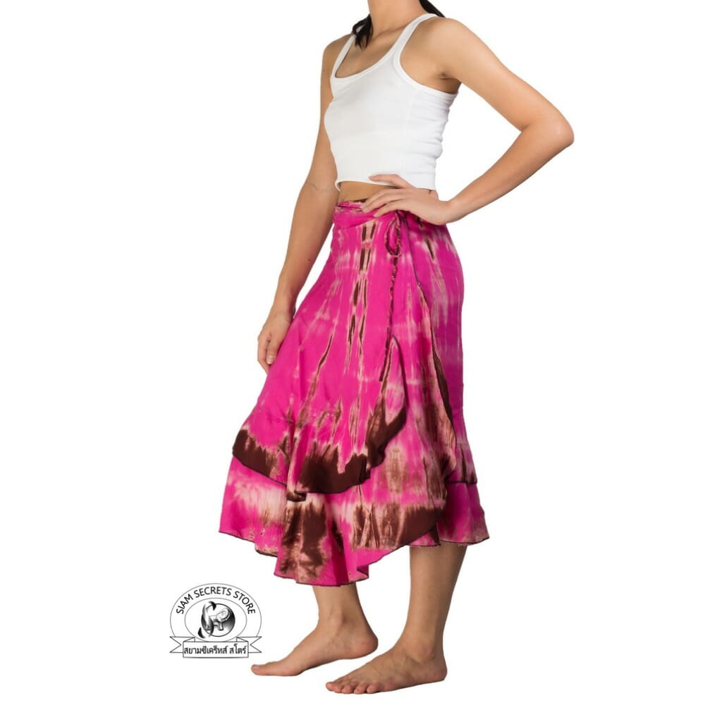 d1bc6818a5f7ce Pink Tie-Dye Wrap Skirt Gypsy Layered Design ⋆ Siam Secrets Apparel
